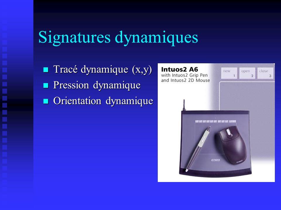 Signatures dynamiques Tracé dynamique (x,y) Tracé dynamique (x,y) Pression dynamique Pression dynamique Orientation dynamique Orientation dynamique