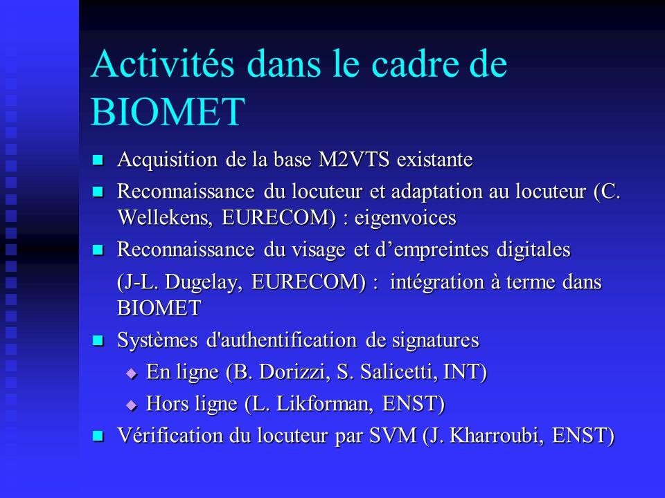 Activités dans le cadre de BIOMET Acquisition de la base M2VTS existante Acquisition de la base M2VTS existante Reconnaissance du locuteur et adaptati