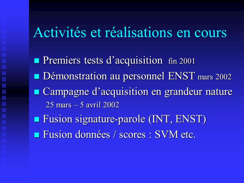 Activités et réalisations en cours Premiers tests dacquisition fin 2001 Premiers tests dacquisition fin 2001 Démonstration au personnel ENST mars 2002