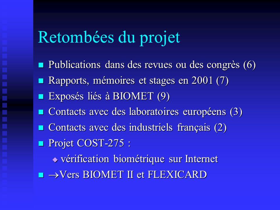 Retombées du projet Publications dans des revues ou des congrès (6) Publications dans des revues ou des congrès (6) Rapports, mémoires et stages en 20