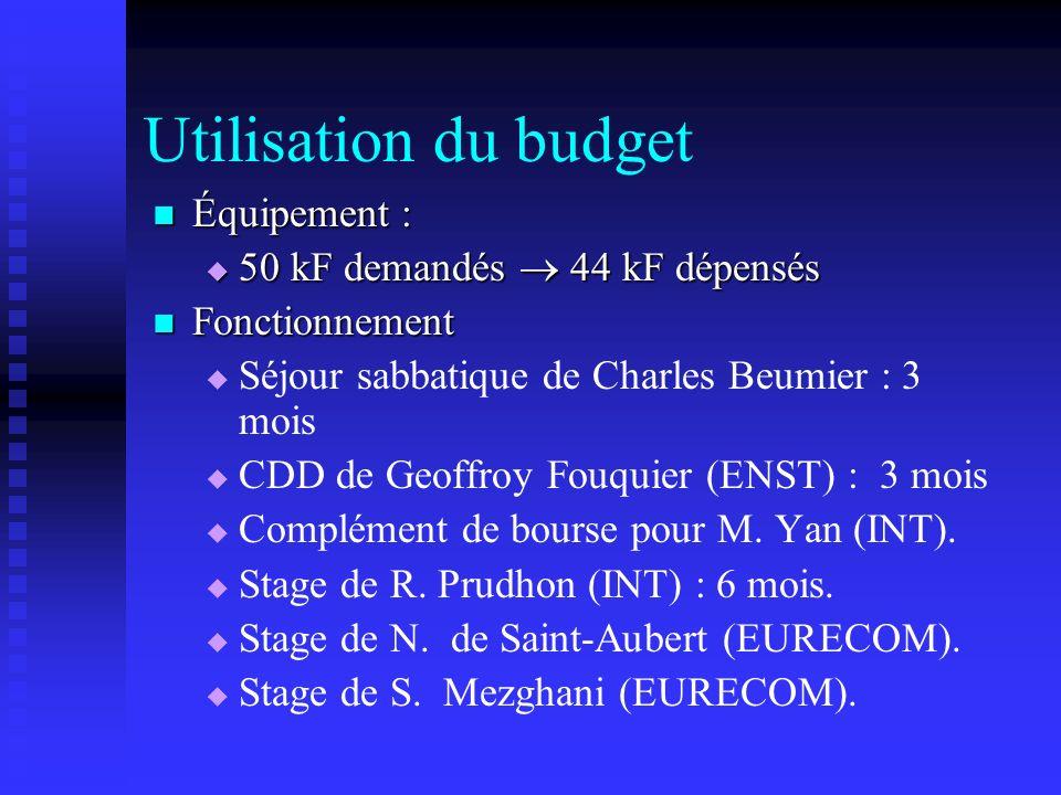 Utilisation du budget Équipement : Équipement : 50 kF demandés 44 kF dépensés 50 kF demandés 44 kF dépensés Fonctionnement Fonctionnement Séjour sabba
