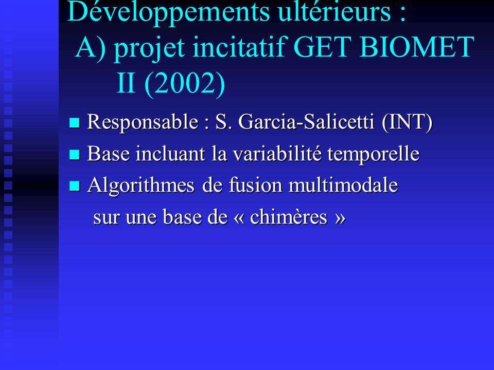 Développements ultérieurs : A) projet incitatif GET BIOMET II (2002) Responsable : S. Garcia-Salicetti (INT) Responsable : S. Garcia-Salicetti (INT) B