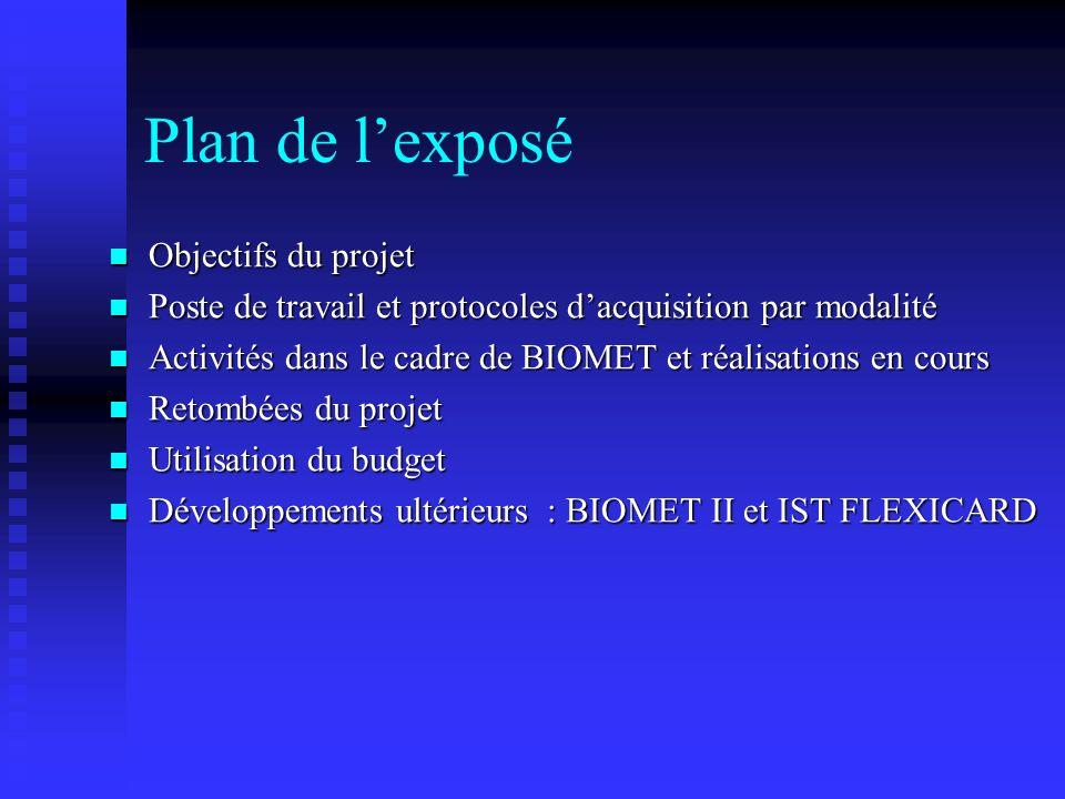 Plan de lexposé Objectifs du projet Objectifs du projet Poste de travail et protocoles dacquisition par modalité Poste de travail et protocoles dacqui