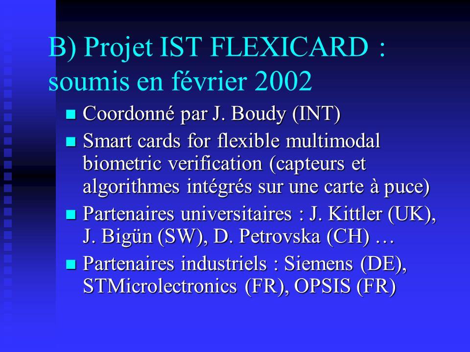 B) Projet IST FLEXICARD : soumis en février 2002 Coordonné par J. Boudy (INT) Coordonné par J. Boudy (INT) Smart cards for flexible multimodal biometr