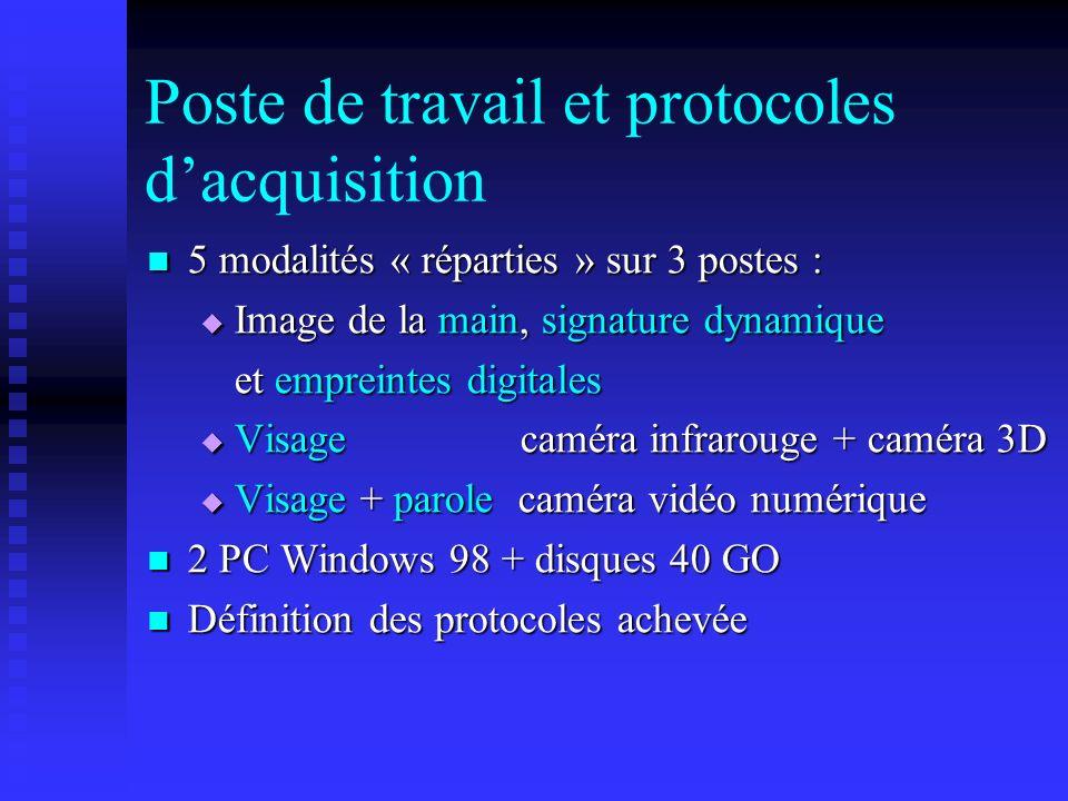Poste de travail et protocoles dacquisition 5 modalités « réparties » sur 3 postes : 5 modalités « réparties » sur 3 postes : Image de la main, signat