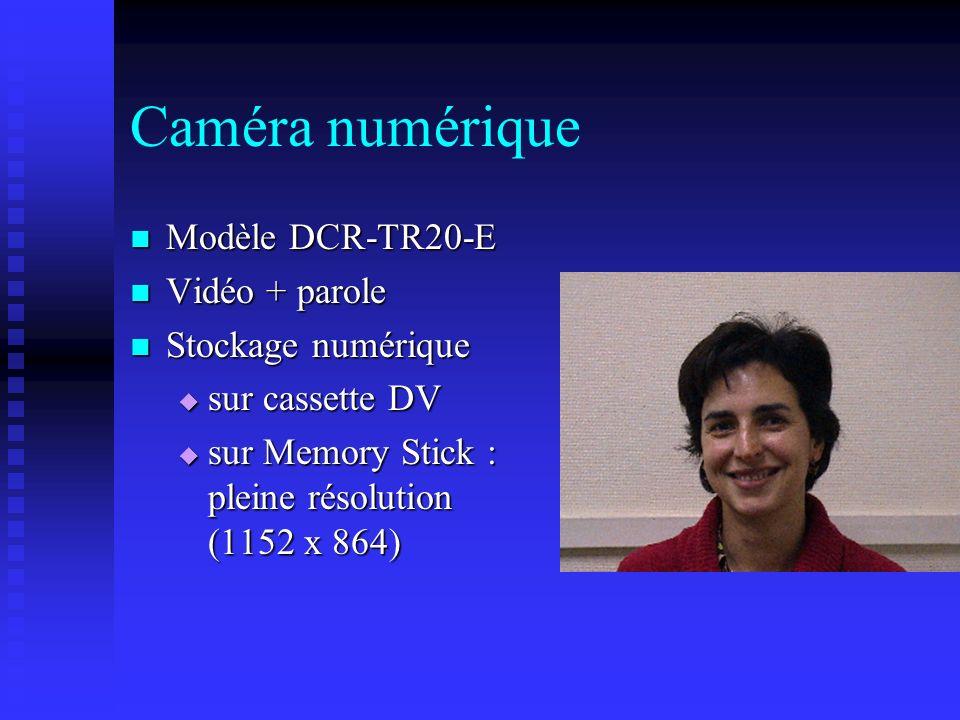 Modèle DCR-TR20-E Modèle DCR-TR20-E Vidéo + parole Vidéo + parole Stockage numérique Stockage numérique sur cassette DV sur cassette DV sur Memory Sti