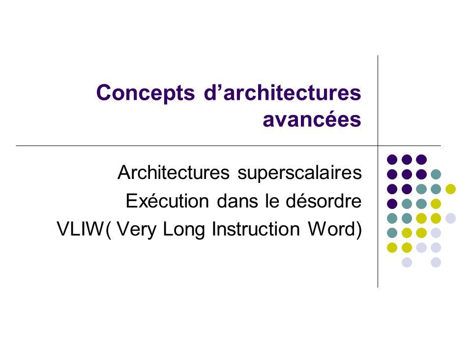 Concepts darchitectures avancées Architectures superscalaires Exécution dans le désordre VLIW( Very Long Instruction Word)