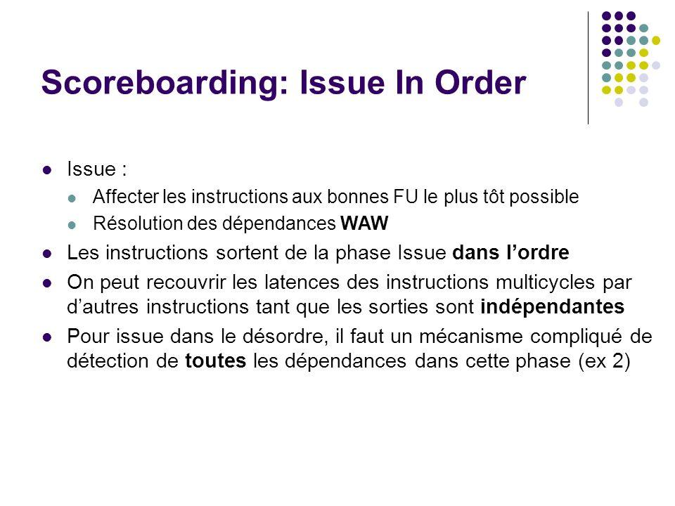 Scoreboarding: Issue In Order Issue : Affecter les instructions aux bonnes FU le plus tôt possible Résolution des dépendances WAW Les instructions sor