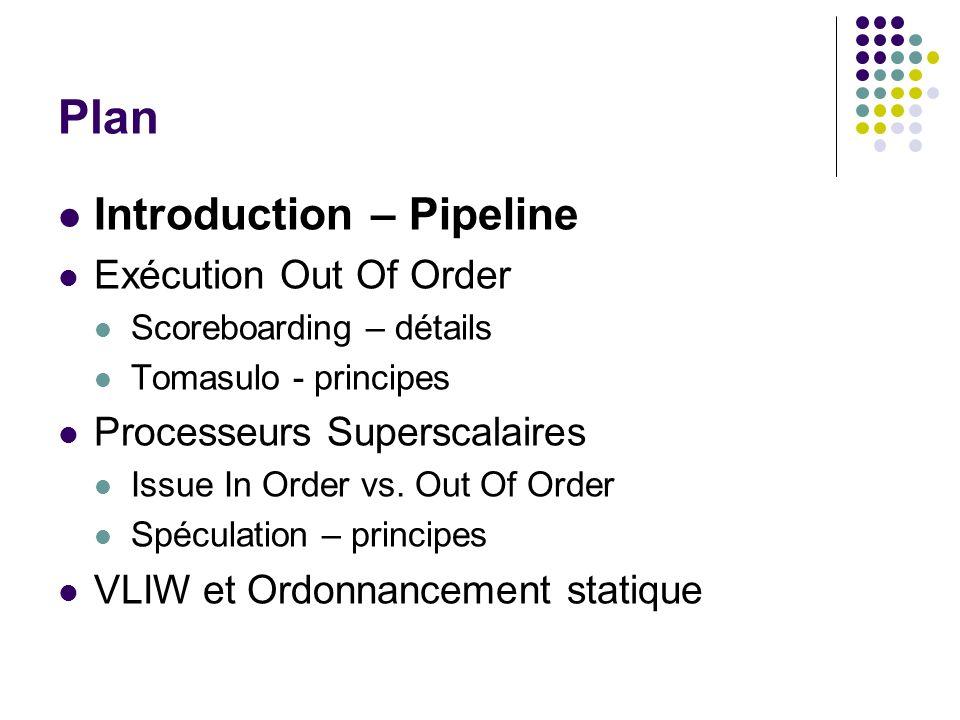 Scoreboarding: Read Operands Issue Read Operand FU1 FU2 ……… op1$1 $2, $3 op2$4 $1, $2 op3$1 $2, $3 WAW La lecture des opérandes ne se fait que si So1Rdy ET So2Rdy A t=3, op1 a lu ses opérandes et op2 est en attente de So1: NOT(So1Rdy) Op1 sexécute (10 cycles) Read Operand FU11op1$2$300-- $1 FU21op2$1$201FU1--$4 BInstDest t = 3 So1So2So1RdySo2RdyProd1Prod2