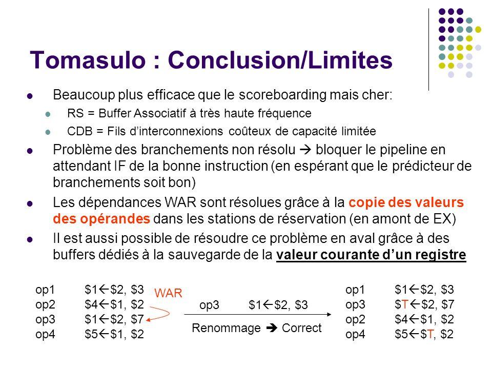 Tomasulo : Conclusion/Limites Beaucoup plus efficace que le scoreboarding mais cher: RS = Buffer Associatif à très haute fréquence CDB = Fils dinterco