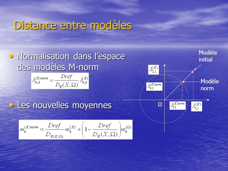 Distance entre modèles Normalisation dans lespace des modèles M-norm Normalisation dans lespace des modèles M-norm Les nouvelles moyennes Les nouvelle