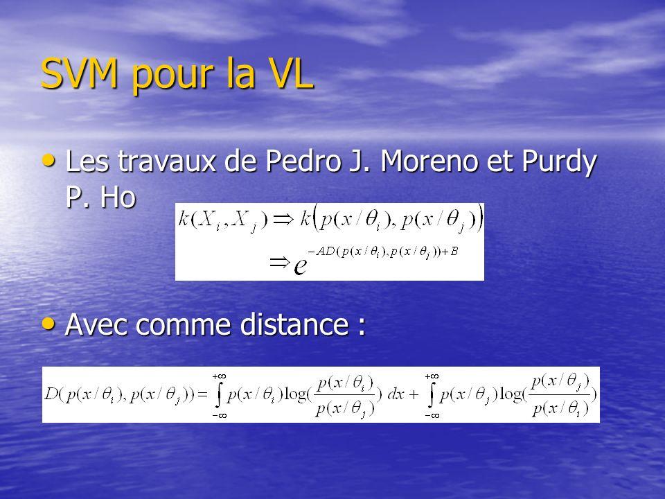 SVM pour la VL Les travaux de Pedro J. Moreno et Purdy P. Ho Les travaux de Pedro J. Moreno et Purdy P. Ho Avec comme distance : Avec comme distance :