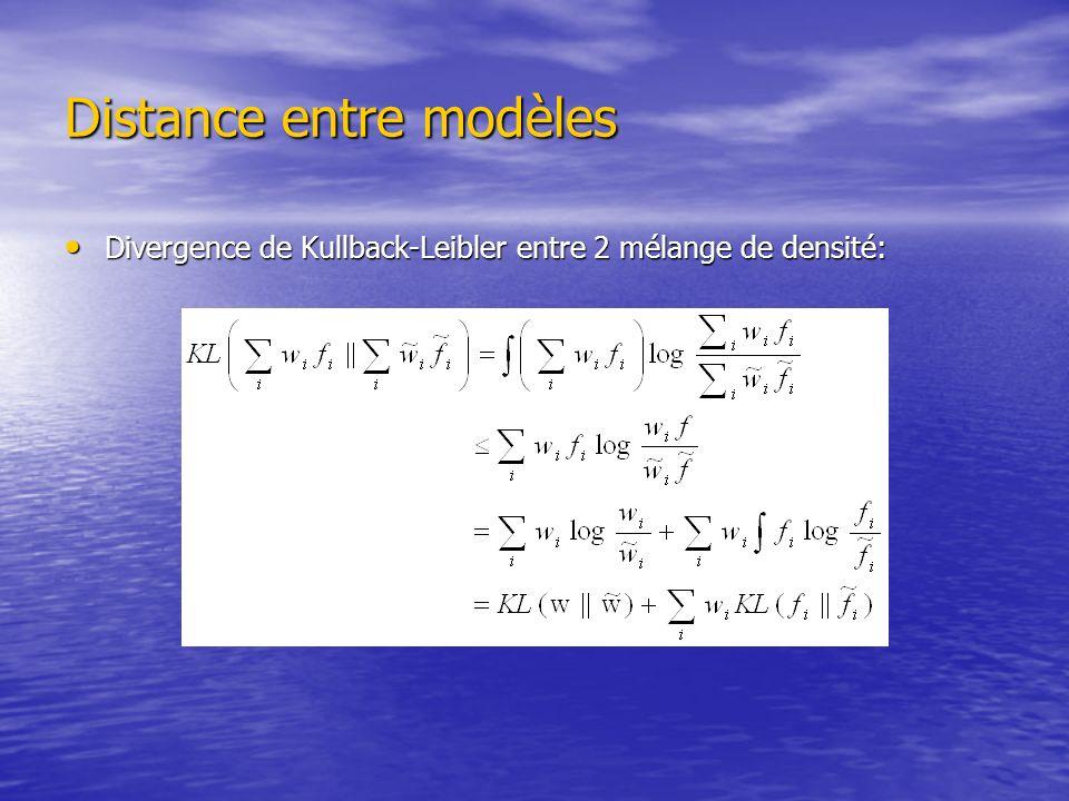 Distance entre modèles Divergence de Kullback-Leibler entre 2 GMMs: Divergence de Kullback-Leibler entre 2 GMMs: Dans le cas de la VL avec seulement ladaptation des moyennes des gaussiennes: Dans le cas de la VL avec seulement ladaptation des moyennes des gaussiennes: On utilisant la distance On utilisant la distance