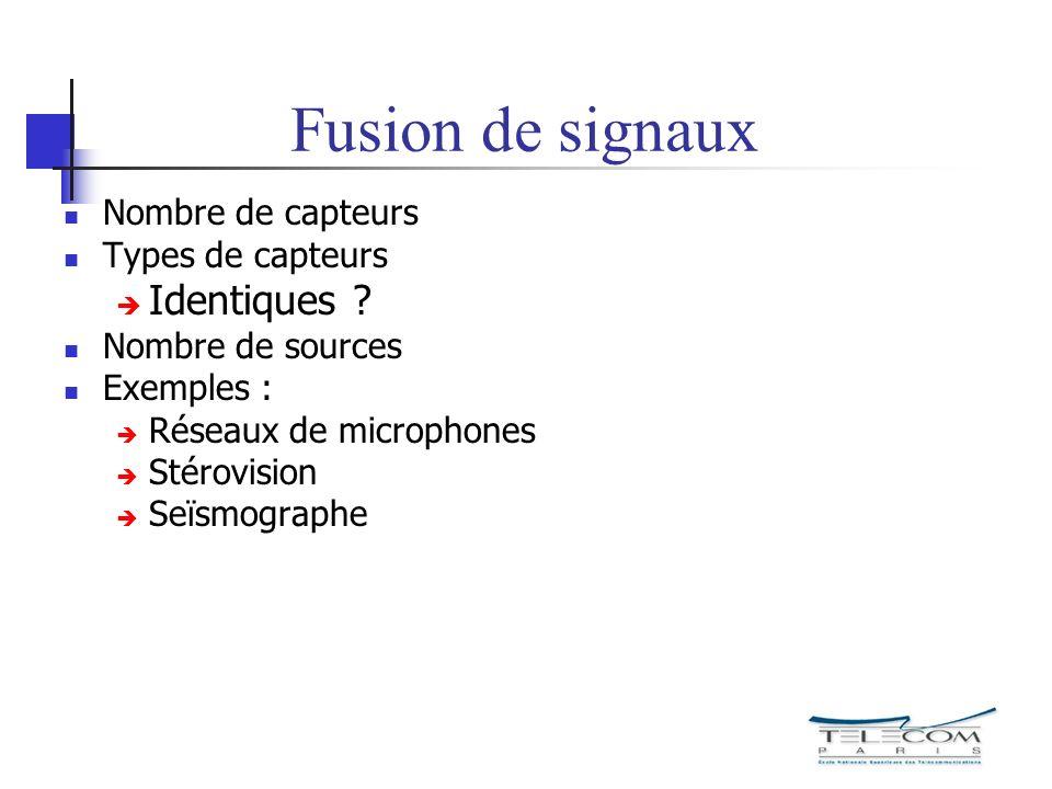 Fusion de signaux Nombre de capteurs Types de capteurs Identiques ? Nombre de sources Exemples : Réseaux de microphones Stérovision Seïsmographe