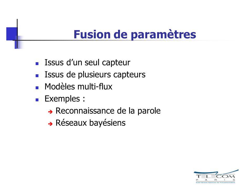 Fusion de paramètres Issus dun seul capteur Issus de plusieurs capteurs Modèles multi-flux Exemples : Reconnaissance de la parole Réseaux bayésiens