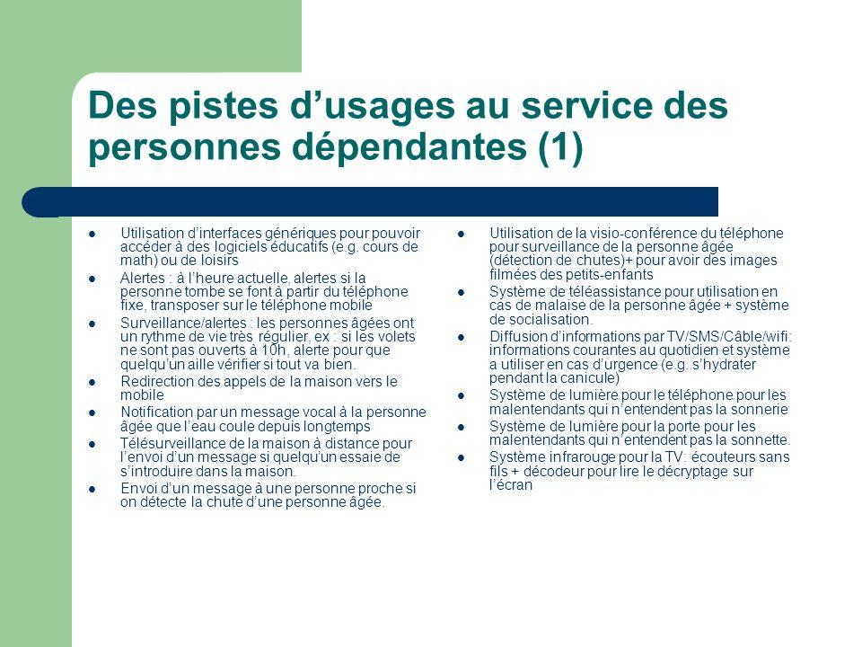 Des pistes dusages au service des personnes dépendantes (1) Utilisation dinterfaces génériques pour pouvoir accéder à des logiciels éducatifs (e.g. co
