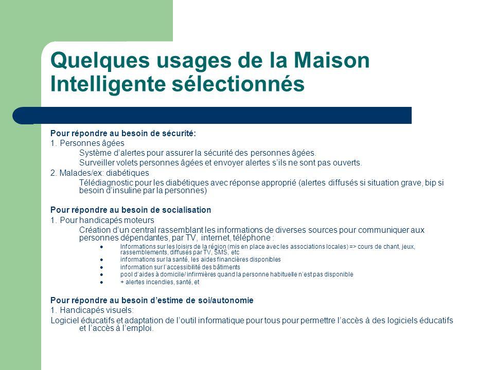 Quelques usages de la Maison Intelligente sélectionnés Pour répondre au besoin de sécurité: 1. Personnes âgées Système dalertes pour assurer la sécuri