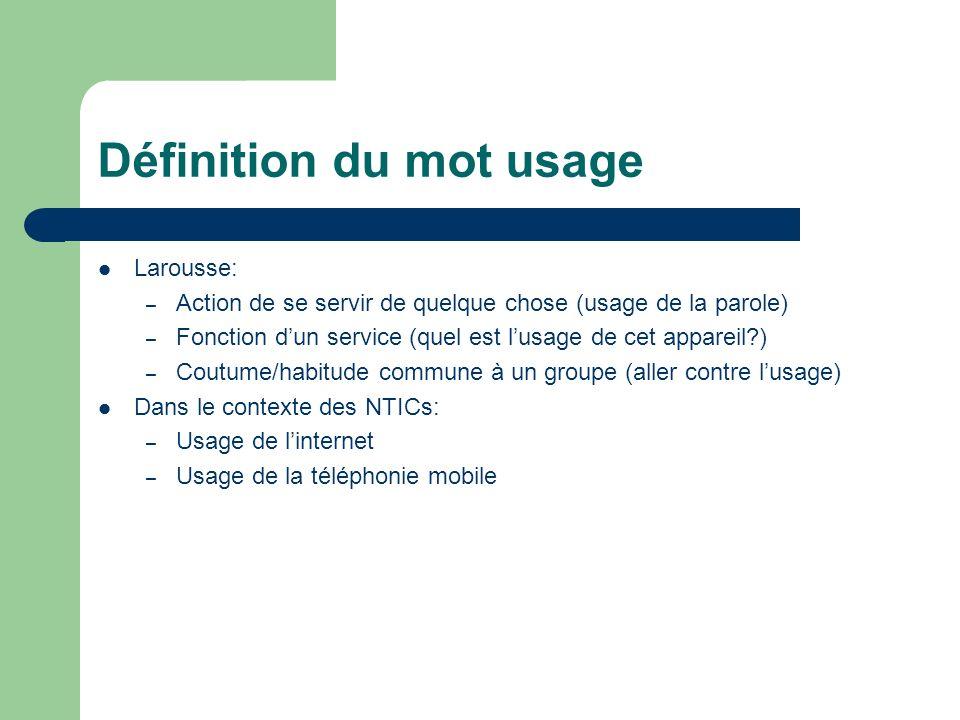 Définition du mot usage Larousse: – Action de se servir de quelque chose (usage de la parole) – Fonction dun service (quel est lusage de cet appareil?