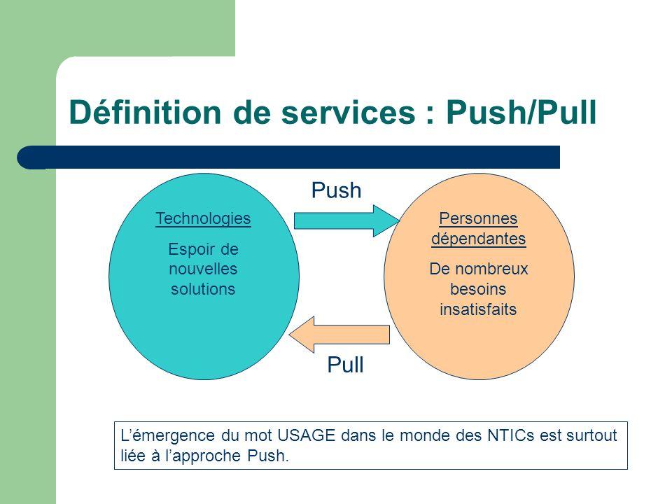 Définition de services : Push/Pull Technologies Espoir de nouvelles solutions Personnes dépendantes De nombreux besoins insatisfaits Push Pull Lémergence du mot USAGE dans le monde des NTICs est surtout liée à lapproche Push.