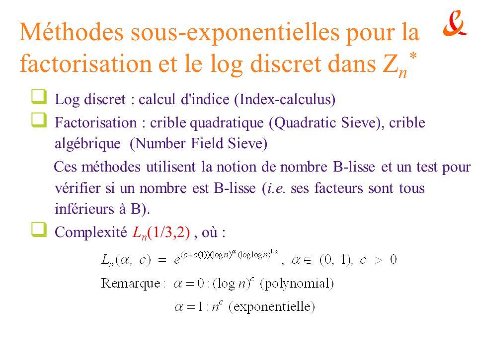 Méthodes sous-exponentielles pour la factorisation et le log discret dans Z n * Log discret : calcul d'indice (Index-calculus) Factorisation : crible