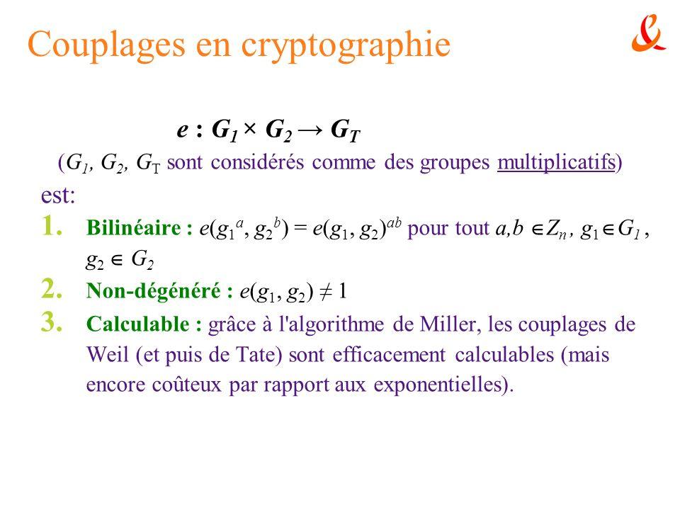 Couplages en cryptographie e : G 1 × G 2 G T (G 1, G 2, G T sont considérés comme des groupes multiplicatifs) est: 1. Bilinéaire : e(g 1 a, g 2 b ) =