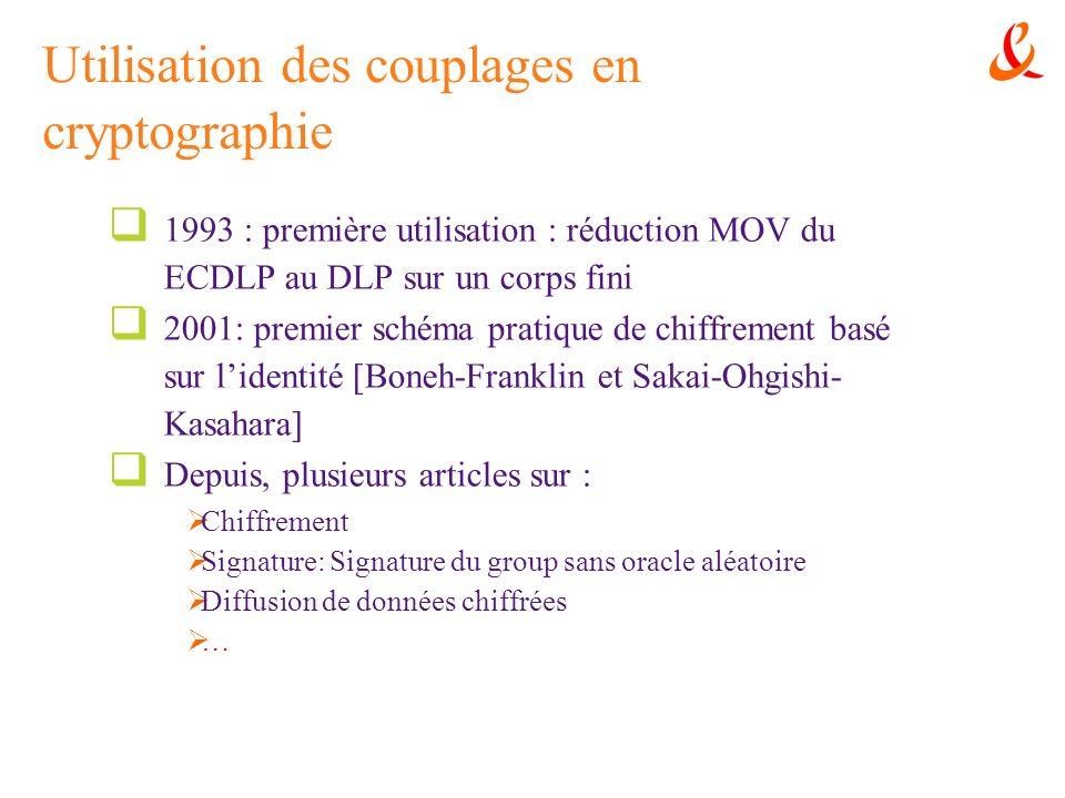 Utilisation des couplages en cryptographie 1993 : première utilisation : réduction MOV du ECDLP au DLP sur un corps fini 2001: premier schéma pratique