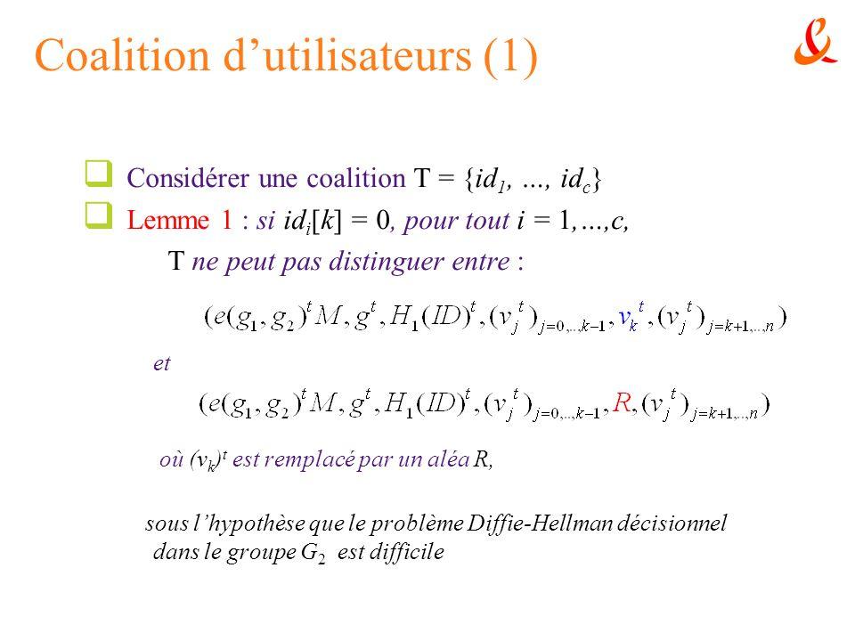 Coalition dutilisateurs (1) Considérer une coalition T = {id 1, …, id c } Lemme 1 : si id i [k] = 0, pour tout i = 1,…,c, T ne peut pas distinguer ent