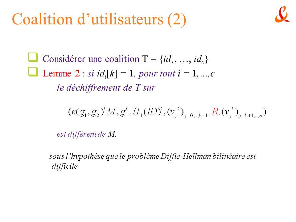 Coalition dutilisateurs (2) Considérer une coalition T = {id 1, …, id c } Lemme 2 : si id i [k] = 1, pour tout i = 1,…,c le déchiffrement de T sur est