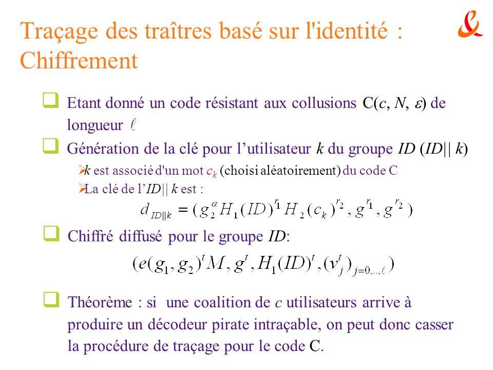 Traçage des traîtres basé sur l'identité : Chiffrement Etant donné un code résistant aux collusions C(c, N, ) de longueur Génération de la clé pour lu