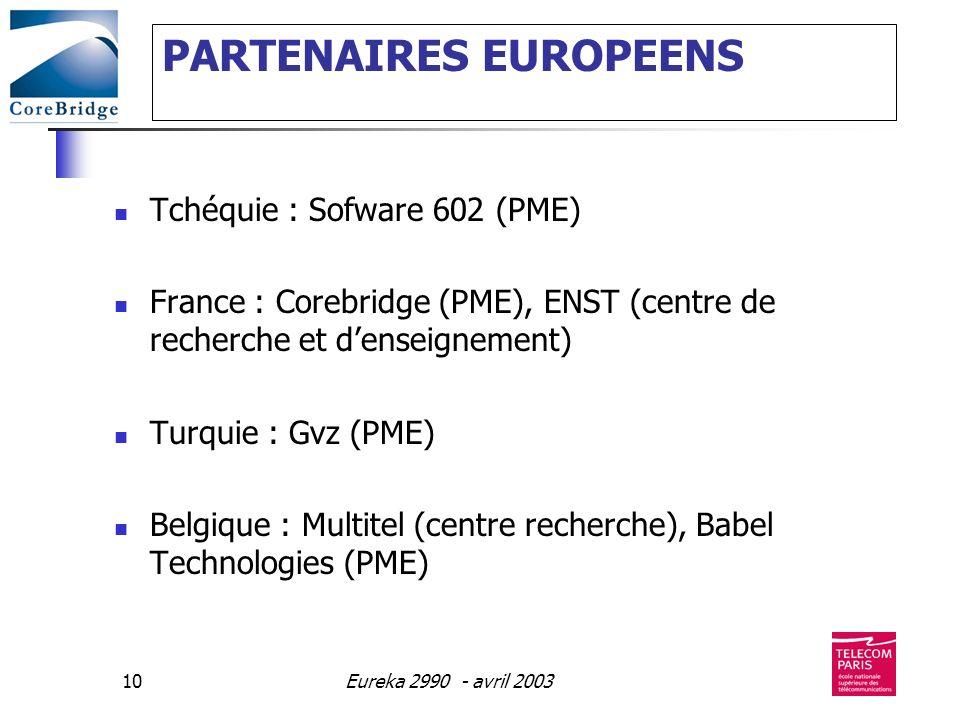 Eureka 2990 - avril 200310 PARTENAIRES EUROPEENS Tchéquie : Sofware 602 (PME) France : Corebridge (PME), ENST (centre de recherche et denseignement) T
