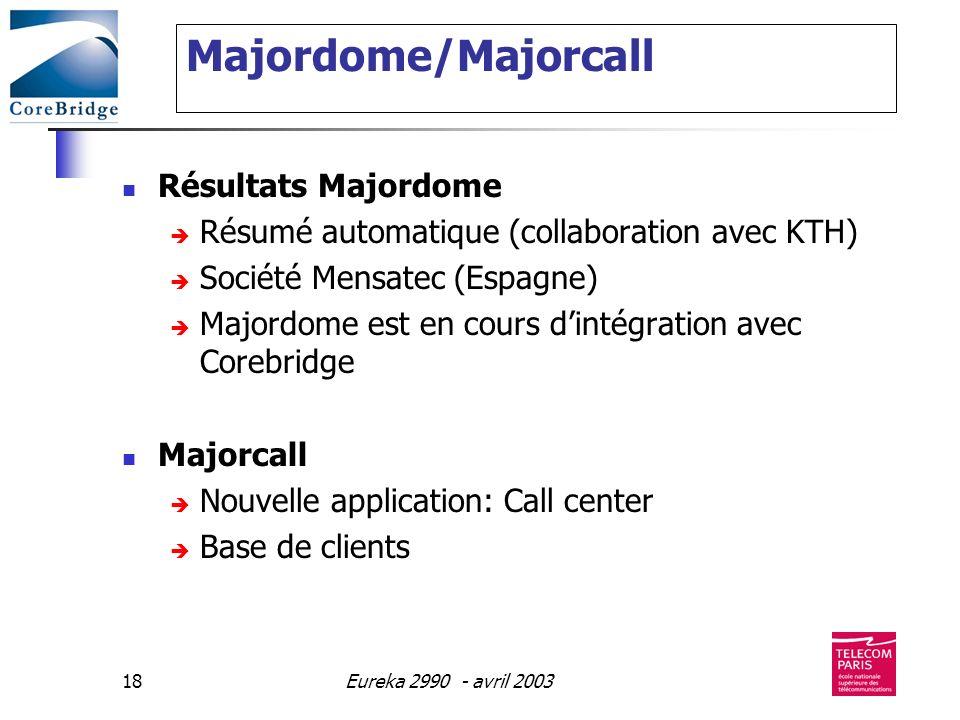 Eureka 2990 - avril 200318 Majordome/Majorcall Résultats Majordome Résumé automatique (collaboration avec KTH) Société Mensatec (Espagne) Majordome es