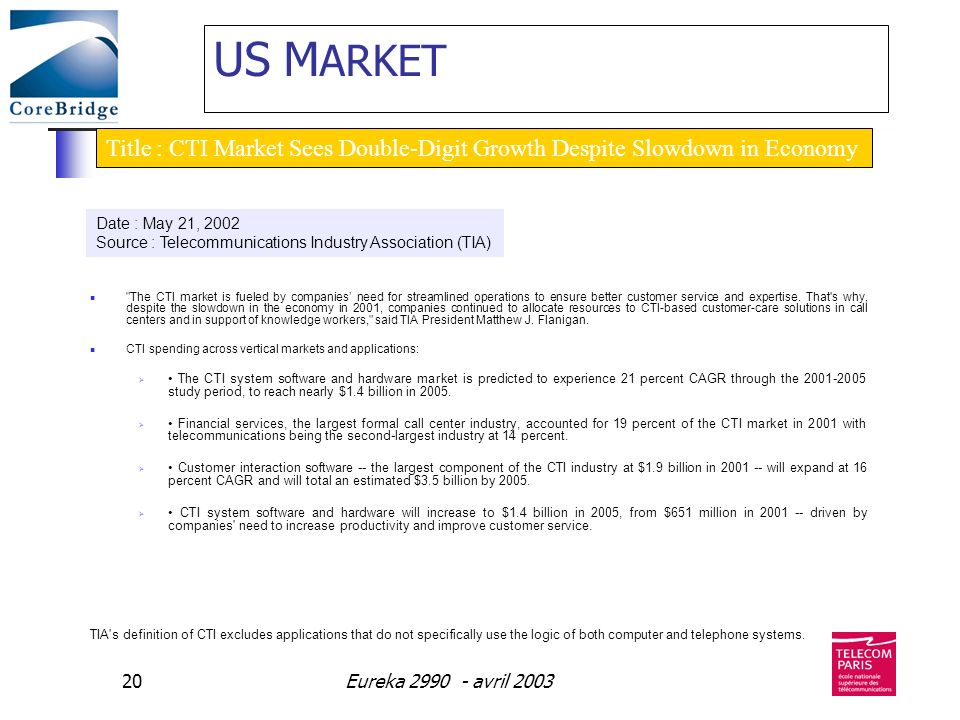 Eureka 2990 - avril 200320 US M ARKET The CTI market is fueled by companies need for streamlined operations to ensure better customer service and expertise.