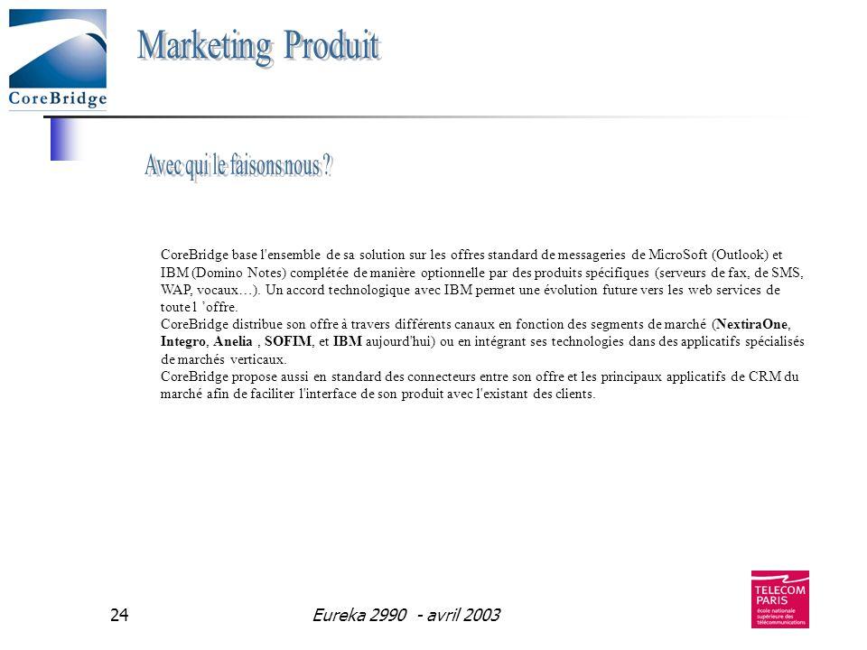 Eureka 2990 - avril 200324 CoreBridge base l'ensemble de sa solution sur les offres standard de messageries de MicroSoft (Outlook) et IBM (Domino Note