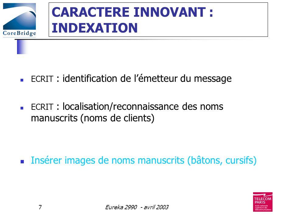 Eureka 2990 - avril 20037 CARACTERE INNOVANT : INDEXATION ECRIT : identification de lémetteur du message ECRIT : localisation/reconnaissance des noms