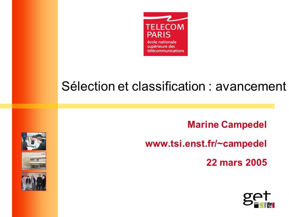 Sélection et classification : avancement Marine Campedel www.tsi.enst.fr/~campedel 22 mars 2005