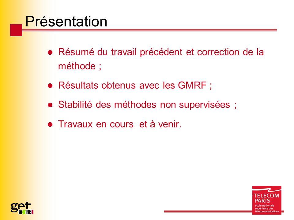 Présentation Résumé du travail précédent et correction de la méthode ; Résultats obtenus avec les GMRF ; Stabilité des méthodes non supervisées ; Travaux en cours et à venir.