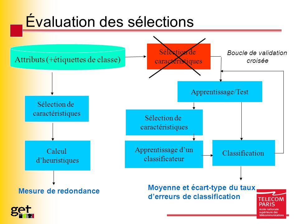 Évaluation des sélections Attributs (+étiquettes de classe) Sélection de caractéristiques Apprentissage dun classificateur Calcul dheuristiques Apprentissage/Test Classification Boucle de validation croisée Mesure de redondance Moyenne et écart-type du taux derreurs de classification Sélection de caractéristiques Sélection de caractéristiques