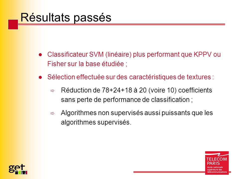 Résultats passés Classificateur SVM (linéaire) plus performant que KPPV ou Fisher sur la base étudiée ; Sélection effectuée sur des caractéristiques de textures : Réduction de 78+24+18 à 20 (voire 10) coefficients sans perte de performance de classification ; Algorithmes non supervisés aussi puissants que les algorithmes supervisés.