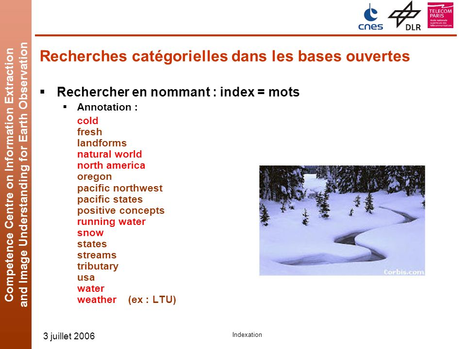 Competence Centre on Information Extraction and Image Understanding for Earth Observation 3 juillet 2006 Indexation Recherches catégorielles dans les