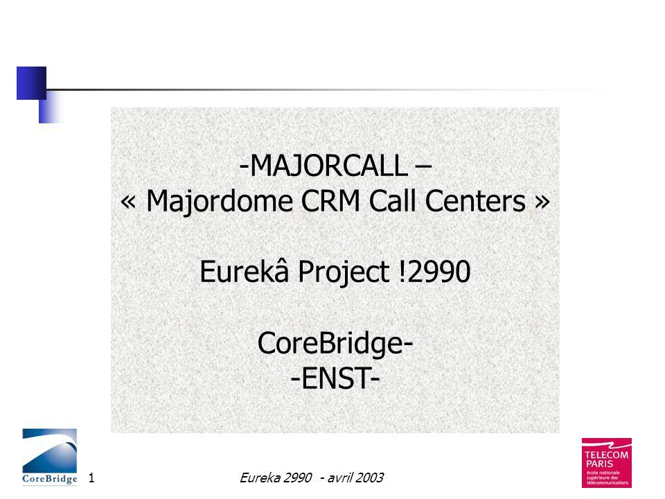 Eureka 2990 - avril 200332 Majordome/Majorcall Résultats Majordome Résumé automatique (collaboration avec KTH) Société Mensatec (Espagne) Majordome est en cours dintégration avec Corebridge Majorcall Nouvelle application: Call center Base de clients