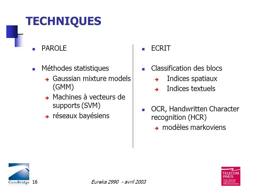 Eureka 2990 - avril 200316 TECHNIQUES PAROLE Méthodes statistiques Gaussian mixture models (GMM) Machines à vecteurs de supports (SVM) réseaux bayésie