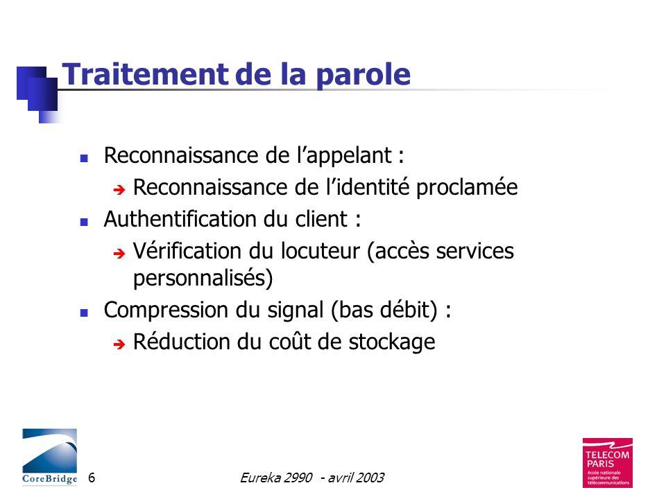 Eureka 2990 - avril 20036 Traitement de la parole Reconnaissance de lappelant : Reconnaissance de lidentité proclamée Authentification du client : Vér