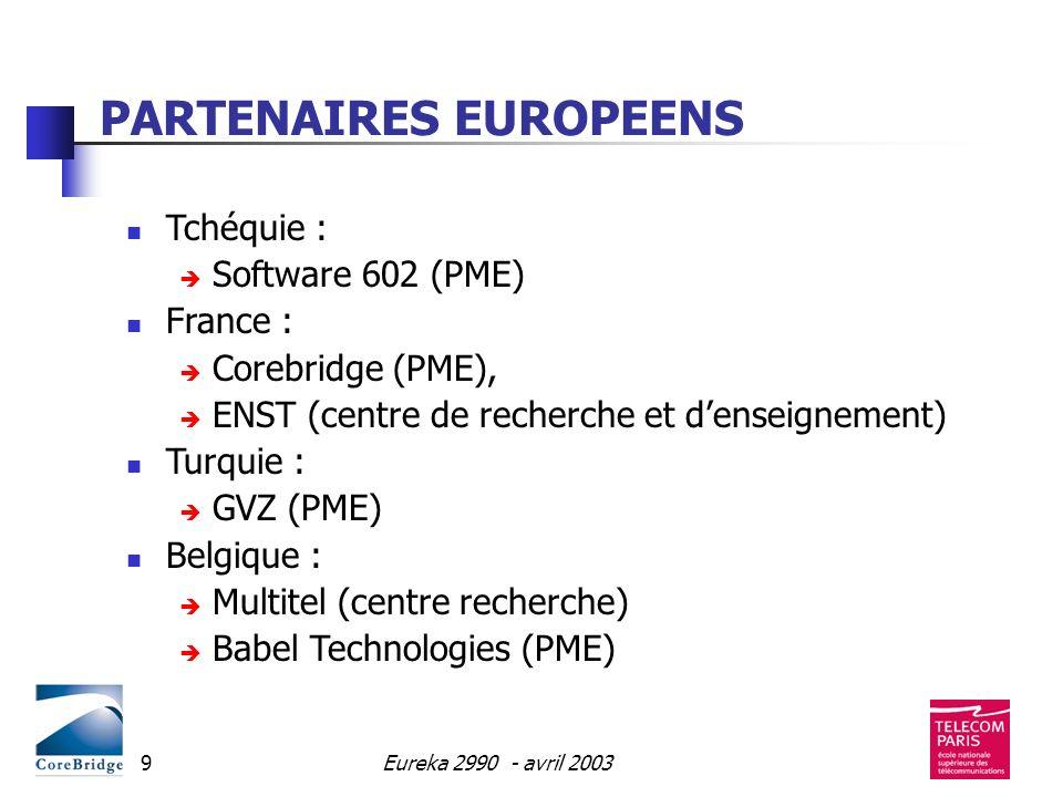 Eureka 2990 - avril 20039 PARTENAIRES EUROPEENS Tchéquie : Software 602 (PME) France : Corebridge (PME), ENST (centre de recherche et denseignement) T