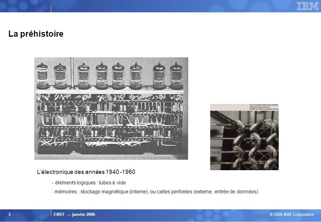 ENST --- janvier 2006 © 2006 IBM Corporation 3 La préhistoire Lélectronique des années 1940 -1960 - éléments logiques : tubes à vide - mémoires : stoc