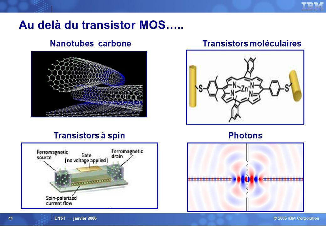 ENST --- janvier 2006 © 2006 IBM Corporation 41 Au delà du transistor MOS….. Transistors moléculaires Photons Nanotubes carbone Transistors à spin