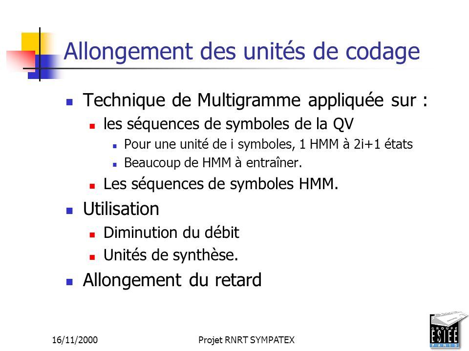 16/11/2000Projet RNRT SYMPATEX17 Allongement des unités de codage Technique de Multigramme appliquée sur : les séquences de symboles de la QV Pour une