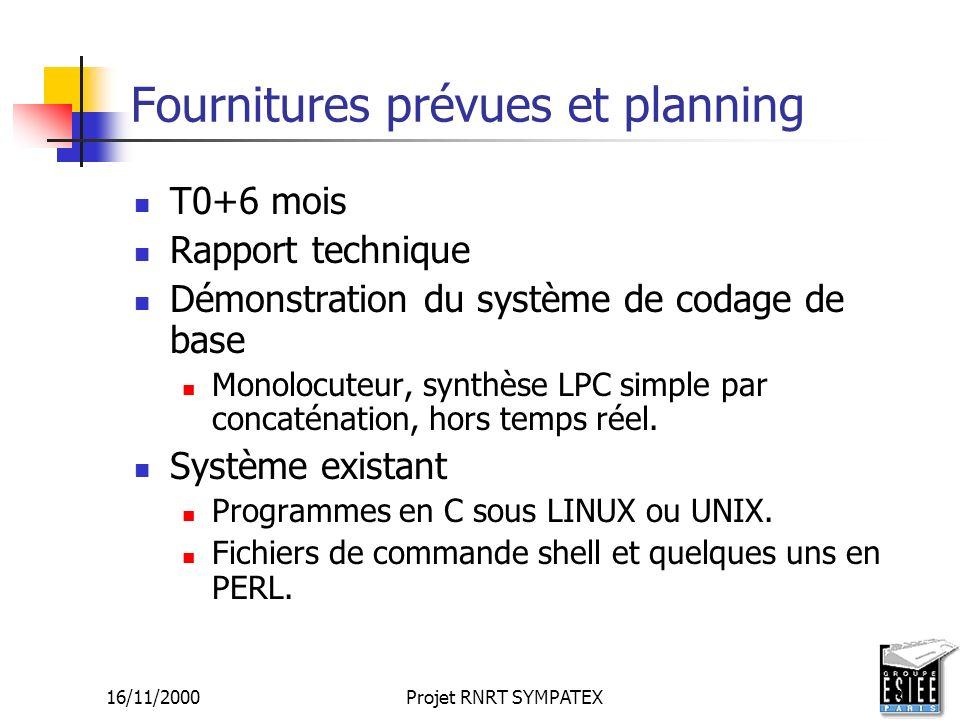16/11/2000Projet RNRT SYMPATEX3 Fournitures prévues et planning T0+6 mois Rapport technique Démonstration du système de codage de base Monolocuteur, s