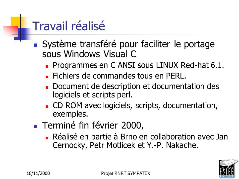 16/11/2000Projet RNRT SYMPATEX4 Travail réalisé Système transféré pour faciliter le portage sous Windows Visual C Programmes en C ANSI sous LINUX Red-