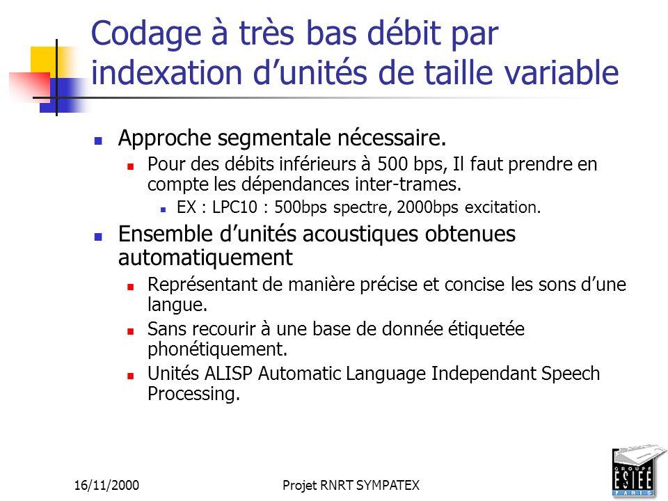 16/11/2000Projet RNRT SYMPATEX7 Vocodeurs à très bas débits, phonétiques ou pseudo-phonétique Codeur à reconnaissance-synthèse: Effectue, dans la phase danalyse, une reconnaissance dunités acoustiques de codage Linguistiques (phonèmes, transitions entre phonèmes,…) Nécessite une base de données étiquetées Unités acoustiques obtenues automatiquement par des techniques statistiques : codeur pseudo-phonétiques.