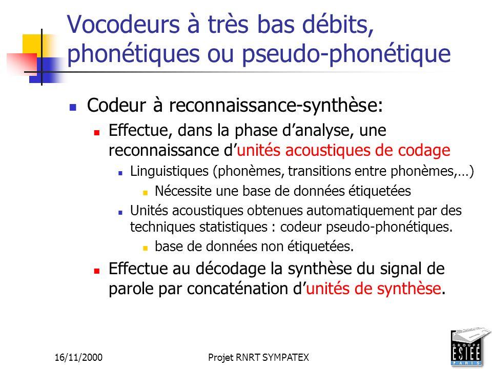16/11/2000Projet RNRT SYMPATEX7 Vocodeurs à très bas débits, phonétiques ou pseudo-phonétique Codeur à reconnaissance-synthèse: Effectue, dans la phas